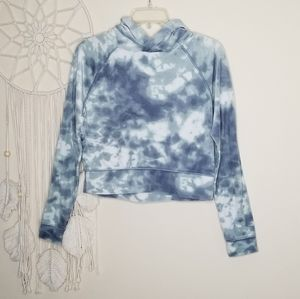 So Cozy Sweatshirt Tie Dye Crop Hoodie Blue XS